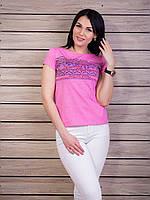 Модная молодежная футболка с цветочным притом из хлопка