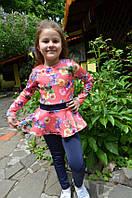 Детский нарядный спортивный костюм для девочки на весну в школу, фото 1