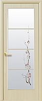 Двери межкомнатные Новый Стиль, КВАДРА, модель Виктория Финиш бумага, со стеклом сатин и рисунком Р3
