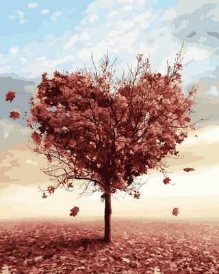 Набор-раскраска по номерам Осеннее дерево любви, фото 2