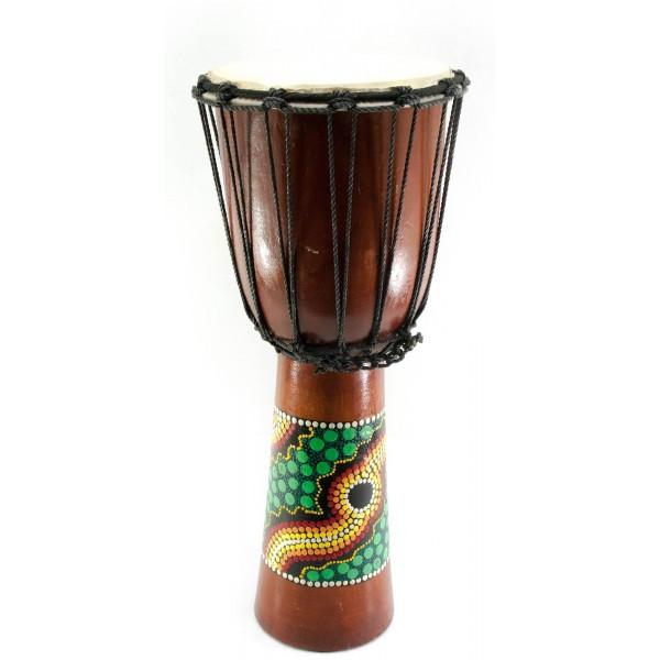 Барабан расписной дерево с кожей черный (50х22х22 см) - Магазин подарков Часики в Харькове