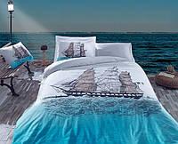 Хлопковый комплект постельного белья ЕВРО размера Cotton Box SHIP MAVI CB03