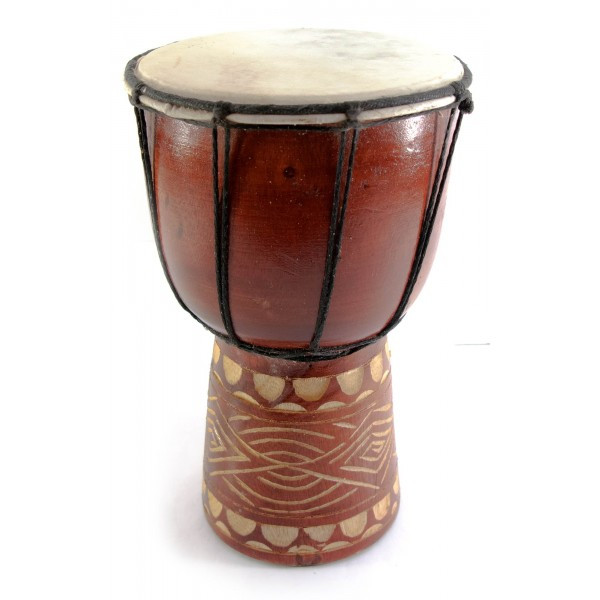 Барабан резной дерево с кожей (24х14х14 см)