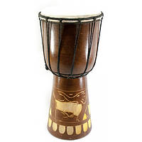 Барабан резной дерево с кожей (40х19х19 см)