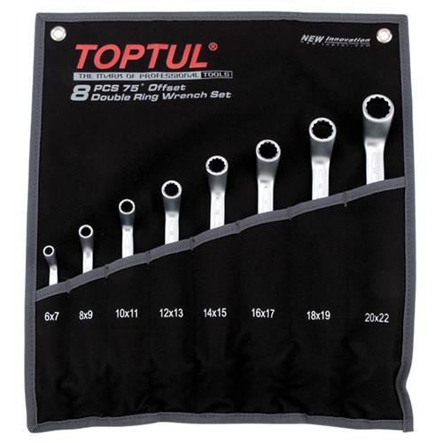 Набор накидных ключей 6-24мм (угол 45°) 8ед. (черный чехол) Toptul GACA0802 (Тайвань)