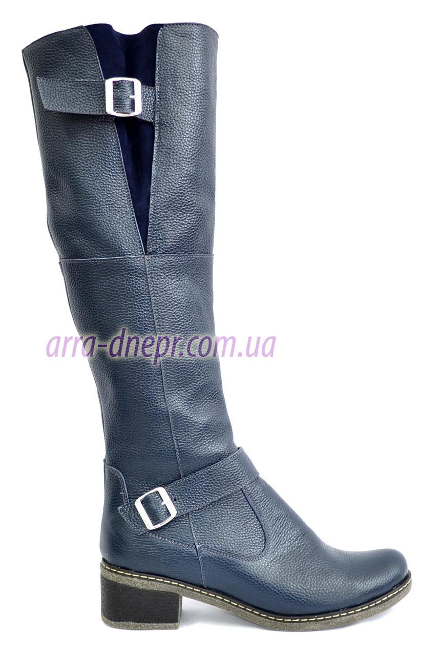Женские кожаные сапоги из кожи синего цвета, демисезонные на байке