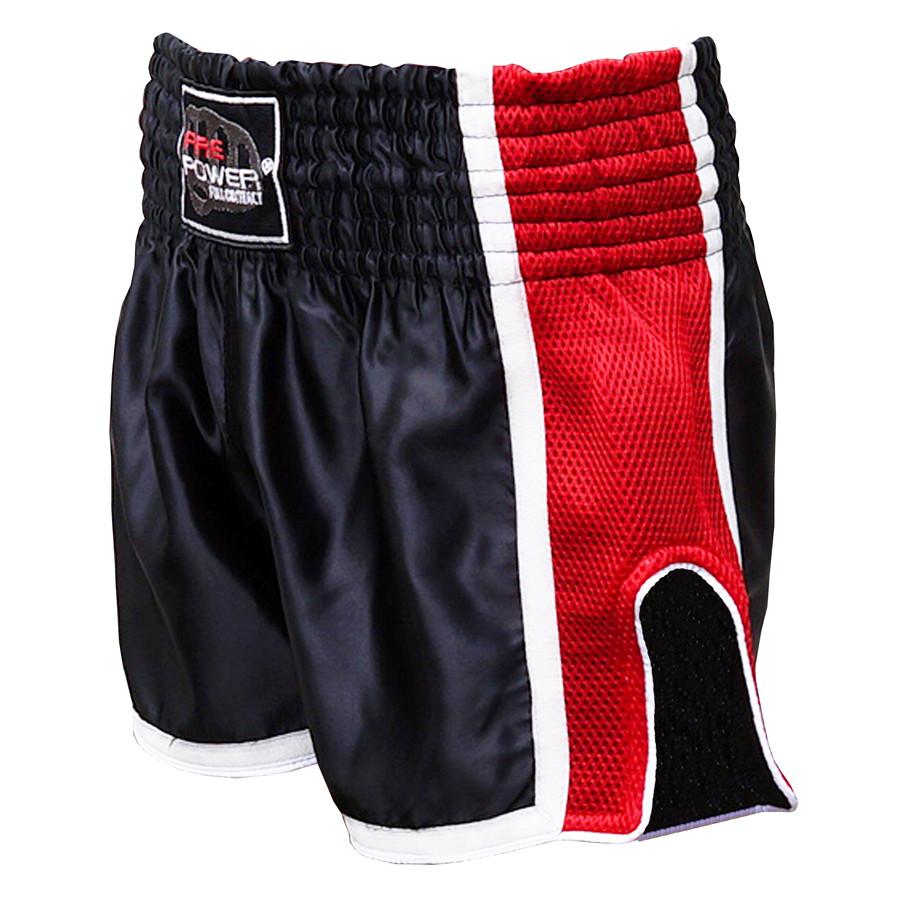Шорти для тайського боксу (Muay Thai) FIREPOWER ST-16 Black/Red