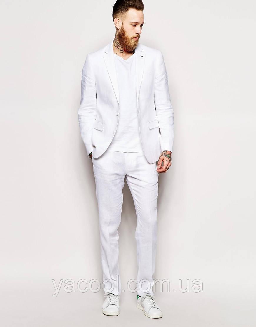 0eb2a36e92b3 Мужской классический льняной костюм белый, синий, серый лен. Слим и  классика. Молодежка