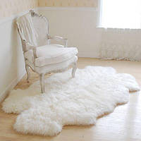 "Ковер из натуральных овечьих шкур белый, размер 210х120, ""ПРЕМИУМ КЛАСС"""""