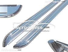 Штатные боковые подножки из нержавейки для Fiat Doblo 2014-..., кор (L1) / длин (L2) базы, Ø 42 \ 51  \ 60 мм
