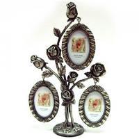 Фоторамка Букет роз на 3 фото, подарок на юбилей