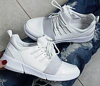 Кроссовки белые Материал:текстиль+эко-лак
