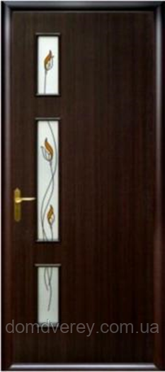 Двері міжкімнатні Новий Стиль, КВАДРА, модель Герда, зі склом сатин і малюнком Р3