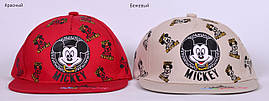 Микки реперка. Бейсболка тонкий хлопок. р.48-52 (2-4 года) белый, беж, желтый, серый