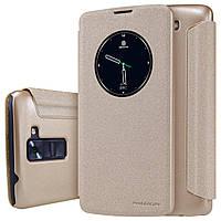 Кожаный чехол (книжка) Nillkin Spakle Series для LG K8 K350E золотой