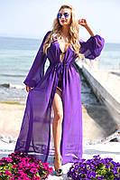 Пляжная туника в пол с рукавами однотон 9056/7 фиолетовый (ВИВ)