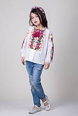 Вышитая сорочка для девочки на домотканом полотне, фото 3