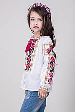 Вышитая сорочка для девочки на домотканом полотне, фото 2