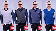 Мужской трикотажный жилет-обманка (с рубашкой)  №1480 (р.M-XL)