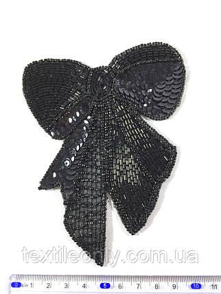 Нашивка бантик с пайетками и бисером черный, фото 2