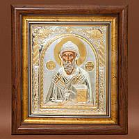 Святой Спиридон икона прямоугольная под стеклом серебряная 233 х 257 мм