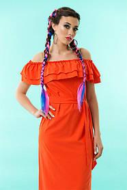 Шикарное летнее платье с открытым верхом и рюшами, разм 42-48