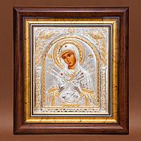 Икона Божией Матери Семистрельная прямоугольная под стеклом серебряная 233 х 257 мм