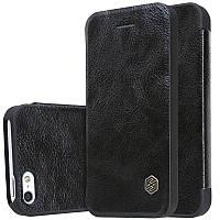 Чехол книжка для iPhone 5/5s/SE Nillkin Qin Series кожаный черный