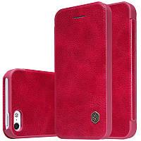 Кожаный чехол (книжка) Nillkin Qin Series для iPhone 5 красный