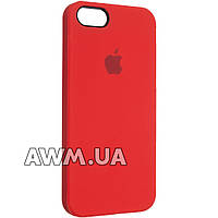 Чехол накладка Silicone Case на iPhone 5 SE красная