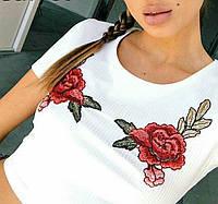Топ футболка с розами белый , фото 1