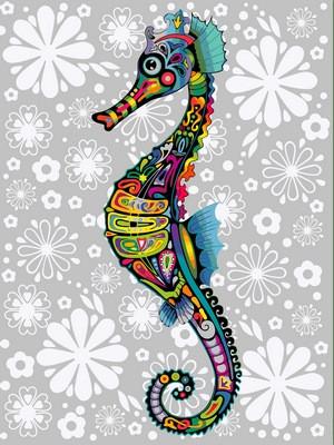 Раскраска по номерам Цветочный морской конек