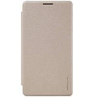 Кожаный чехол (книжка) Nillkin Spakle Series для Microsoft lumia 950 XL золотой