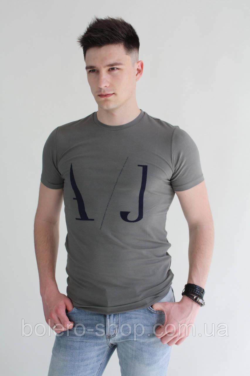 Мужская футболка хаки с рисунком с логотипом Armani - Магазин брендовой  женской и мужской одежды
