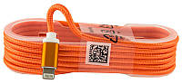 Кабель USB для iPhone 5/6/6 Plus оранжевый (ткань на бабине)