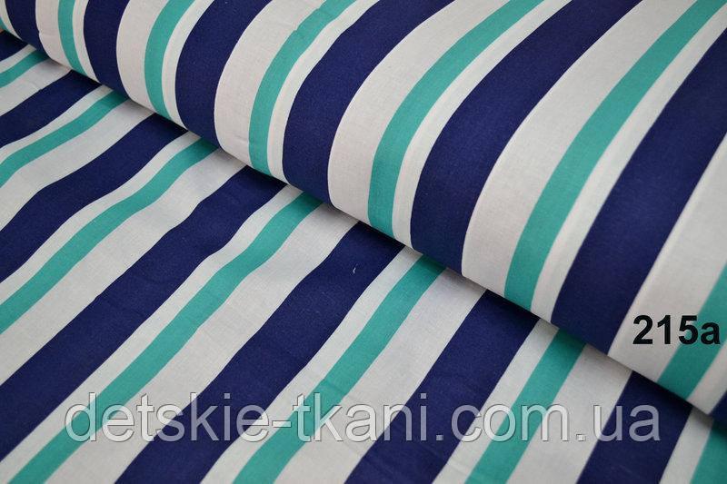 Лоскут ткани №215а с широкими полосами сине-бирюзового цвета