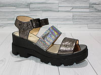 Стильные сандалии на платформе. Натуральная кожа. Серебро. 312 0782