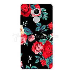 Силіконовий чохол Xiaomi Redmi 4 Pro (чорний з квітами)