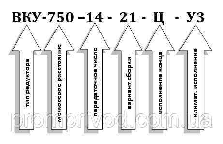 Пример условного обозначения редуктора ВКУ-750М-14