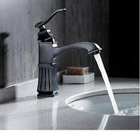 Смеситель кран в ванную для умывальника черный 0132, фото 1