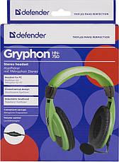 Компьютерная гарнитура Defender Gryphon, HN-750 зеленая, кабель 2 м, фото 3