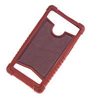 Силиконовый чехол с кожаной вставкой универсальный размер 4.0-4.5 коричневый