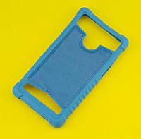Силиконовый чехол с кожаной вставкой универсальный размер 4.0-4.5 бирюзовый