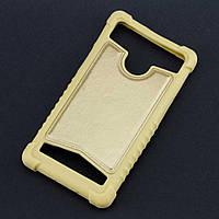 Силиконовый чехол с кожаной вставкой универсальный размер 4.5-5.0 золото