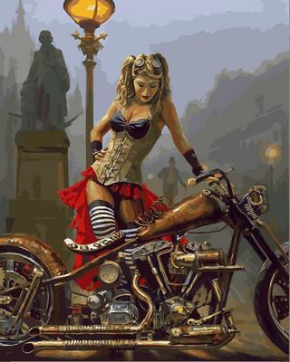 Набор-раскраска по номерам Мотоцикл и девушка в стиле стимпанк Худ Дэвид Уль, фото 2