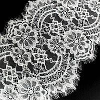 (3 метра)Французское кружево (Шантильи, с ресничками) ширина 24,5см (цена за 3м). Цвет - белый, фото 1