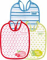 Слюнявчик хлопчато-клеенчатый Завтрак-обед-ужин 3 шт (набор 2), Canpol babies (2/962-2)