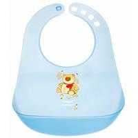 Пластиковый слюнявчик с карманом, голубой с мишкой, Canpol babies (2/404-4)