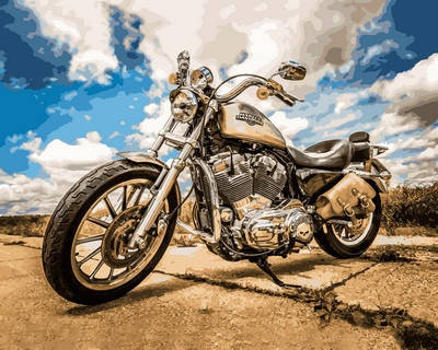 Набор-раскраска по номерам Harley Davidson, фото 2
