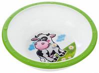 Тарелка-миска пластиковая с нескользящим дном Корова, с зеленым ободком, Canpol babies (4/416-3)